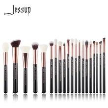 Джессап розовое золото/черный Профессиональные кисти для макияжа набор составляют кисти для инструментов Пудра Кисти натуральный-синтетические волосы