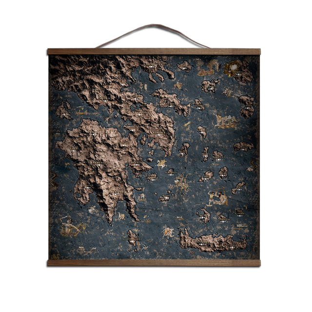 ZHUGEGE Assassins Creed Odyssey map poster for HD canvas posters decoration painting wall art with solid wood hanging scroll 1