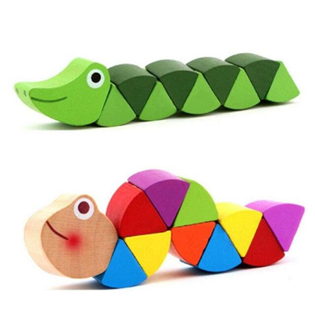 Juguetes Montessori juguetes educativos de madera para niños, aprendizaje temprano, ejercicio, dedos de bebé, Flexible, juego de insectos de torsión de madera para niños