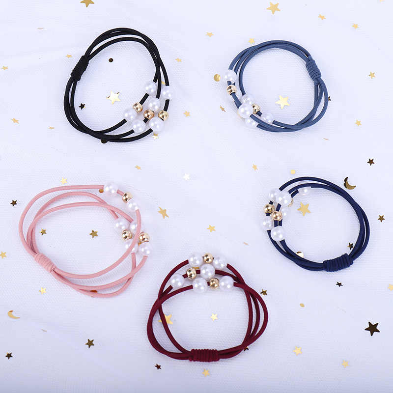 MUMUPI New Women Hair Accessories Girls Headband Three Layer Rubber Band Imitation Pearls Ball Star Elastic Hair Bands headwear
