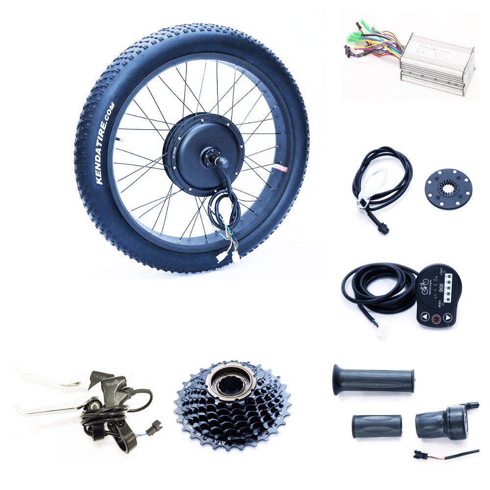 Front or rear motor 65km/h 48v 1500w electric fat bike conversion kit with triangle lithium battery samsung cell  front or rear motor 65km h max snow ebike kit 48v 1500w ebike fat tire wheel conversion kit with lithium battery pack