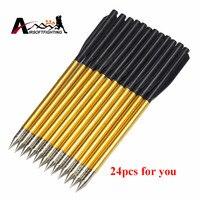24pcs Golden Aluminum Bolt Arrow For 50 Lb 80 Lb Pistol Broadheads Archery Arrowhead Crossbow Arrow