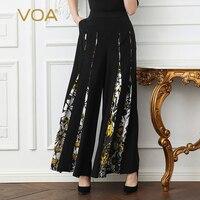 VOA тяжелый шелк плюс Размеры свободные 5XL длинные брюки Для женщин широкие штаны черным принтом Boho Повседневное Винтаж наклонных кармана ве