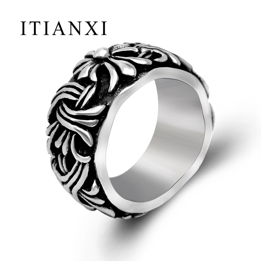 ITIANXI Cool Black Silver Index Finger Rings For Men Man Male Stainless Steel Hollow Out Jewelry Vintage Pattern Super Big Ring