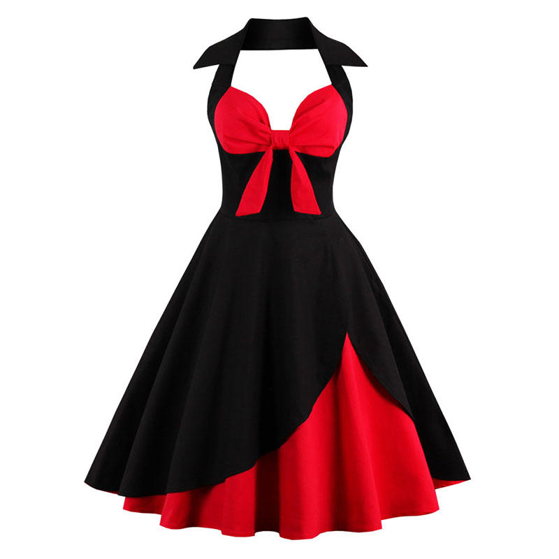 2018 Halter Summer Dress Women Ball Gown Slim Bow Style 50s 60s Vintage  Dress Clothes Sexy Backless Party Dress Plus Size Dress 5fdf86c988b5