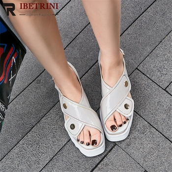 RIBETRINI Fashion 2020 Cow Leather Wedge High Heels Summer Sandals Woman Shoes Buckle Strap Hot Shoes Woman Sandals
