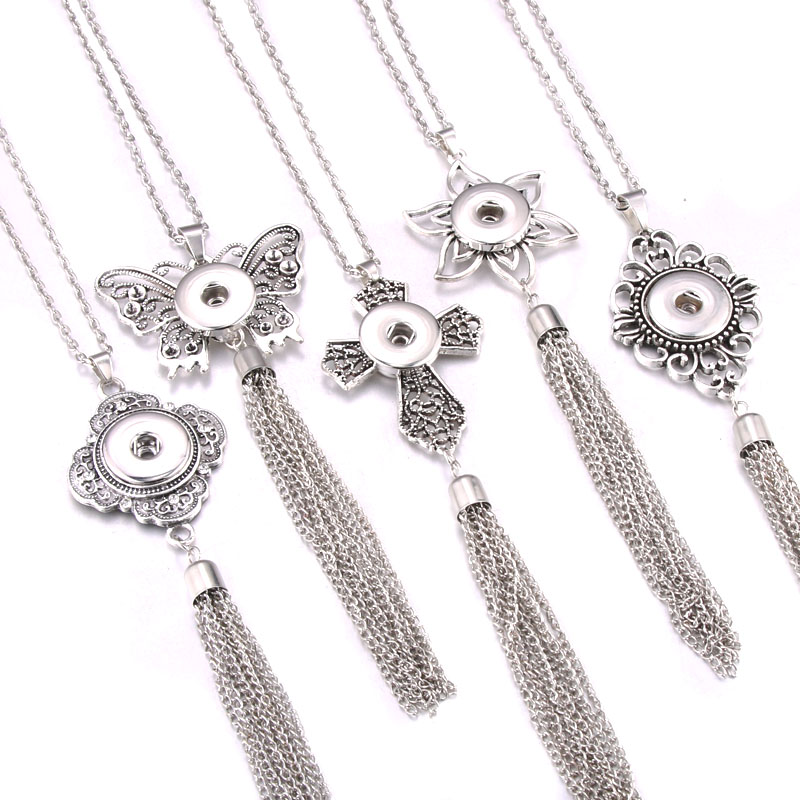 New Snap Necklace Silver Tassel Long Style Butterfly Cross Pendant Necklace With Chains Fit 18mm 20mm Snap Button Jewelry