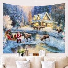 Fashion 3D Christmas Wall Hangings Carpet Hippie Tapestry Toalla Mandala Indian Tapices 200cm Dorm Room Yoga Beach Mat