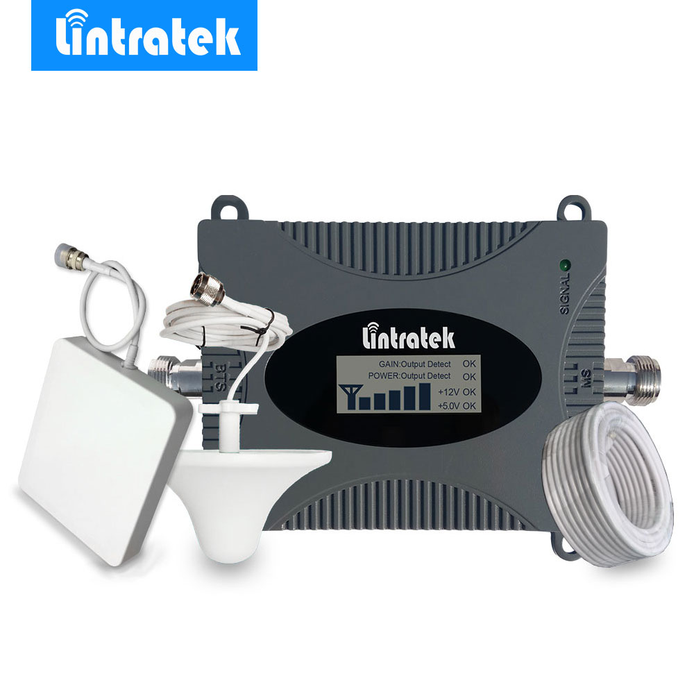Lintratek LCD Display 4G LTE Signal Booster 2600MHz 4G Antenna Mini FDD 4G LTE 2600 Band 7 Mobile Signal Repeater Amplifier Kit/