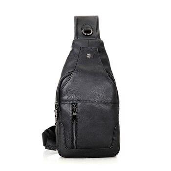 4PCS / LOT Chest Bag for Men Casual Male Cowskin Single Shoulder Bag Classic Leather Crossbody Sling Bag Pack Hiking