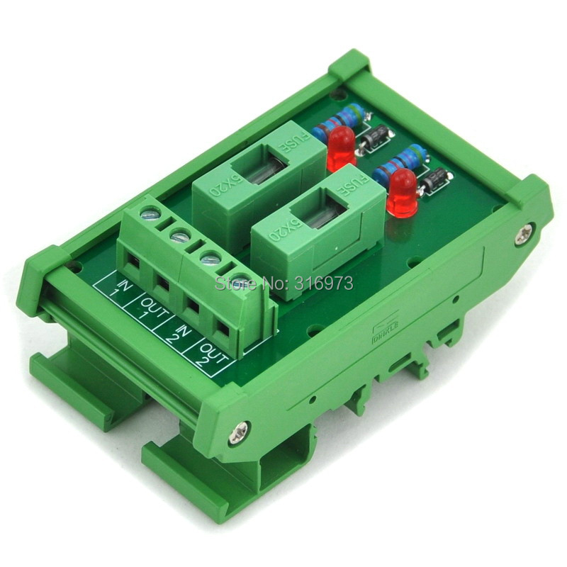 2 Channel Fuse Interface Module, For DC 5~48V, Din Rail Mount, W/ Fail Indicator