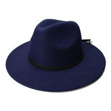 LUCKYLIANJI Retro Women Men Vintage 100 Wool Wide Brim Cap Fedora Panama Jazz Bowler Hat Black