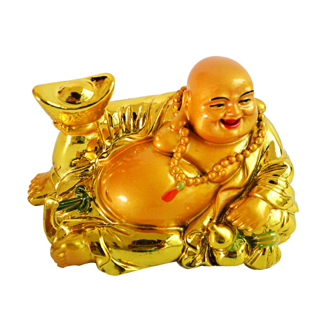 Livraison gratuite Richesse YuanBao Heureux Rire Bouddha Maitreya Statue Statue Feng Shui Figurine AA174