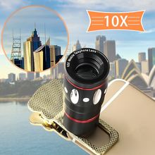 Big discount Outdoor HD Universal 10X Zoom Clip On Mobile Phone Optical Camera Lens Telephoto Telescope for phone camera