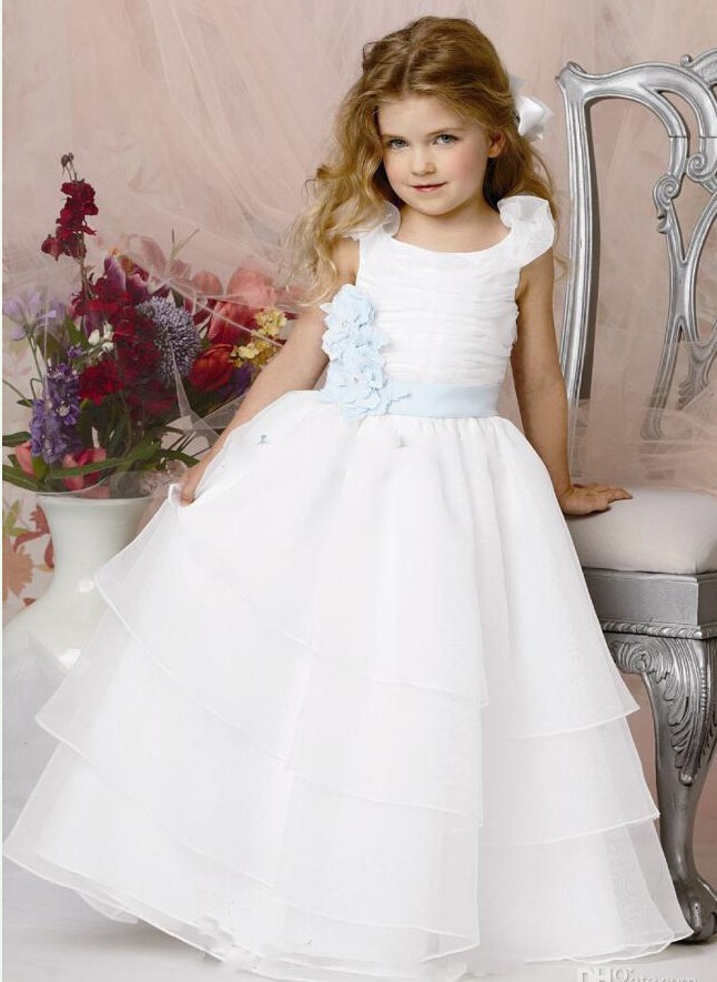 a2d0e4033af 2016 White Blue Flower Girls Dresses Ball Gown Organza Tiered Ruffles  Sashes Cheap China First Communion Dress For Girls