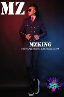 Good Brand nightclub male DJ male singer perform costumes Quan zhilong same slim striped wool coat+pants suit bar stage suit