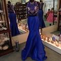 Royal Blue Stain Sirena Vestido De Formatura Rebordear Delicado de Moda de Dos Piezas de Baile Vestidos Sin Mangas Largo Vestido De Festa