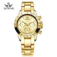 SEWOR Sport Men Steel Watch Clock Fashion Mechanical Automatic Wristwatch Men Famous Design Luxury Business Gold Watches