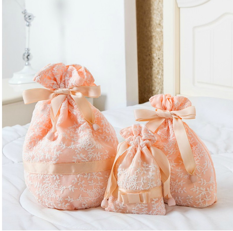 Travel Flower Embroidery Lace Drawstring Bag  Underwear Organizer Bag  Wardrobe Closet Organizer Vacuum Bags For Clothes Shoe