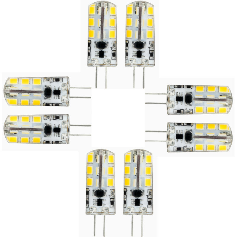 8 Pack G4 LED Light bulb 24 SMD 2835 Energy Saving Lamp 6W AC/DC 12V 500-560LM Cold White 360 Beam Angle Silica gel