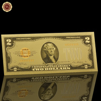 WR 1928 Year Colorful American 24k Gold Banknote 2 Dollar Fake Money Currency Gift Money Metal Crafts Birthday Souvenir Gifts