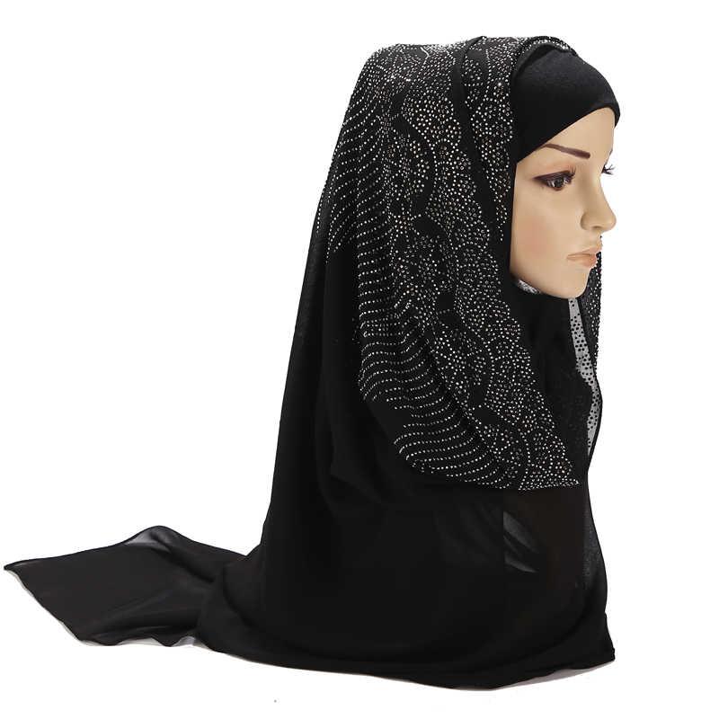 Thời Trang Nữ Bong Bóng Khăn Voan Choàng Cổ Tròn Đính Kim Cương Ngọc Trai Khăn Đồng Bằng Khăn Choàng Len Màu Hồi Giáo Hijab