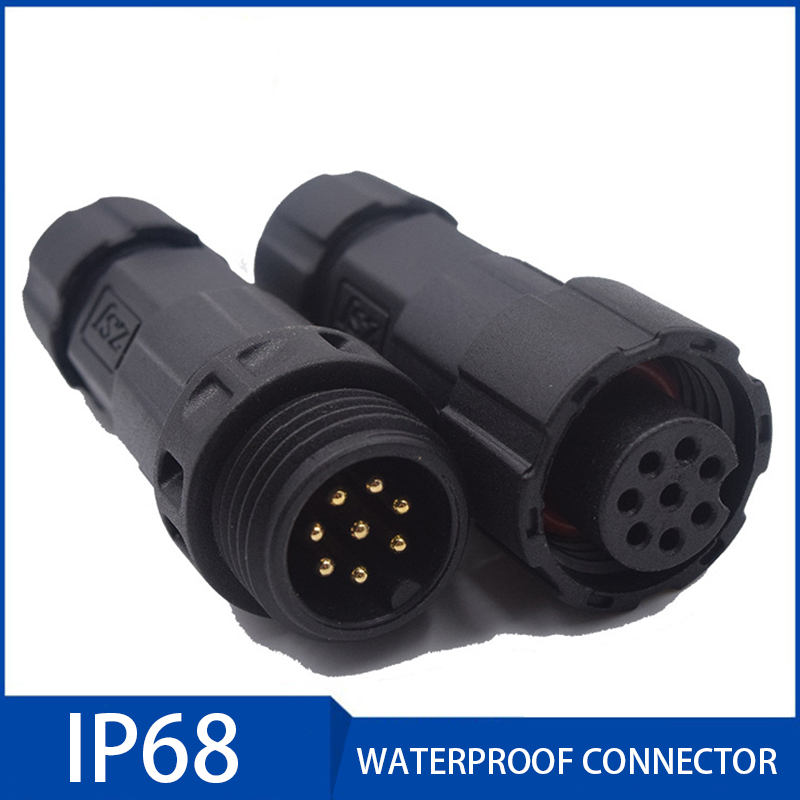 10pcs Ip68 Waterproof Electric Cable Plug Socket 15a Male Female Assembled Soldering Connector 2/3/4/5/6/7/8/9/10/11/12 Pin