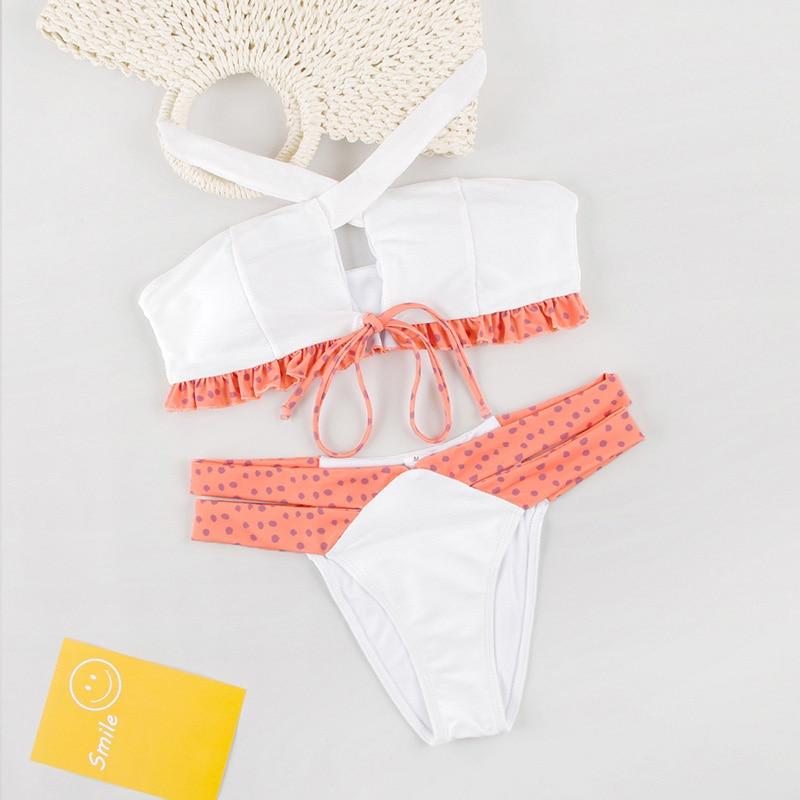 Dot Patchwork Bandeau Bikini 2019 High Quality Push Up Bikinis Female Bikini Set Swimsuit Women'S Beach Feminino May Biquinis