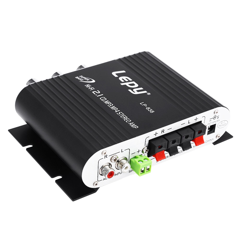 Lepy Lepai LP-838 12V Super Bass Hi-Fi 2.1 3 Channel Stereo Amplifier AMP PC Car