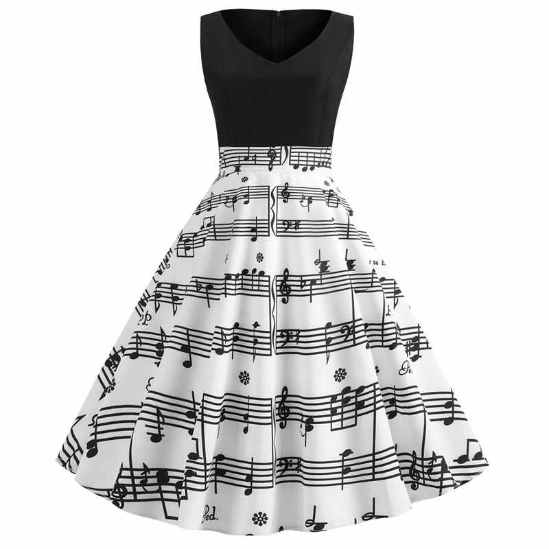 Women Sexy V-neck Dress Retro Vintage 50s 60s Hepburn Dress Music Note Print Musical Big Swing Dresses Party Vestidos