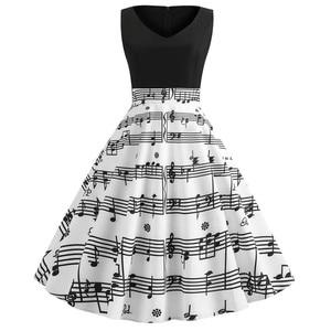 Women Sexy V-neck Dress Retro Vintage 50s 60s Hepburn Dress Music Note Print Musical Big Swing Dresses Party Vestidos