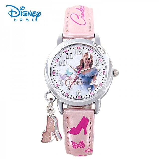 100% Genuine Disney children's watch Cinderella child watch children's girls Fashion crystal shoes Wristwatches Reloj