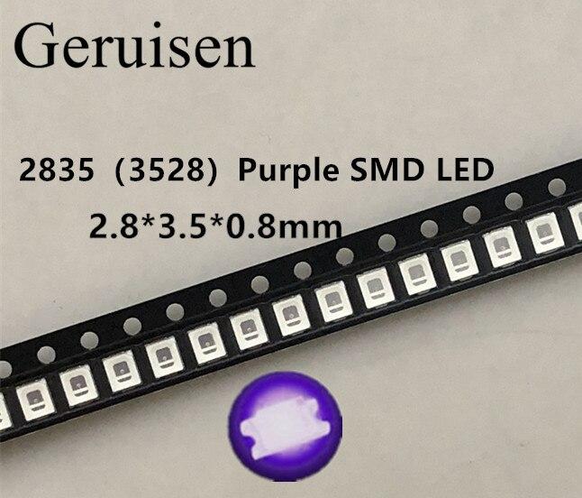 100 pces 2835 3528 smd uv led roxo lâmpada grânulo 395-410nm ultravioleta diodos emissores de luz ultra violeta smt led grânulo