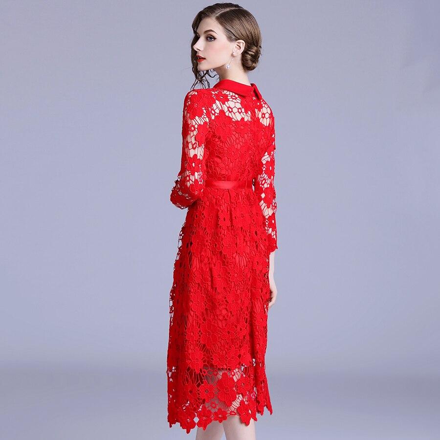 Nouvelle mode à manches longues rouge dentelle robe 2018 femmes col rabattu évider Vintage Slim robe De soirée a-ligne Vestidos De Festa - 5