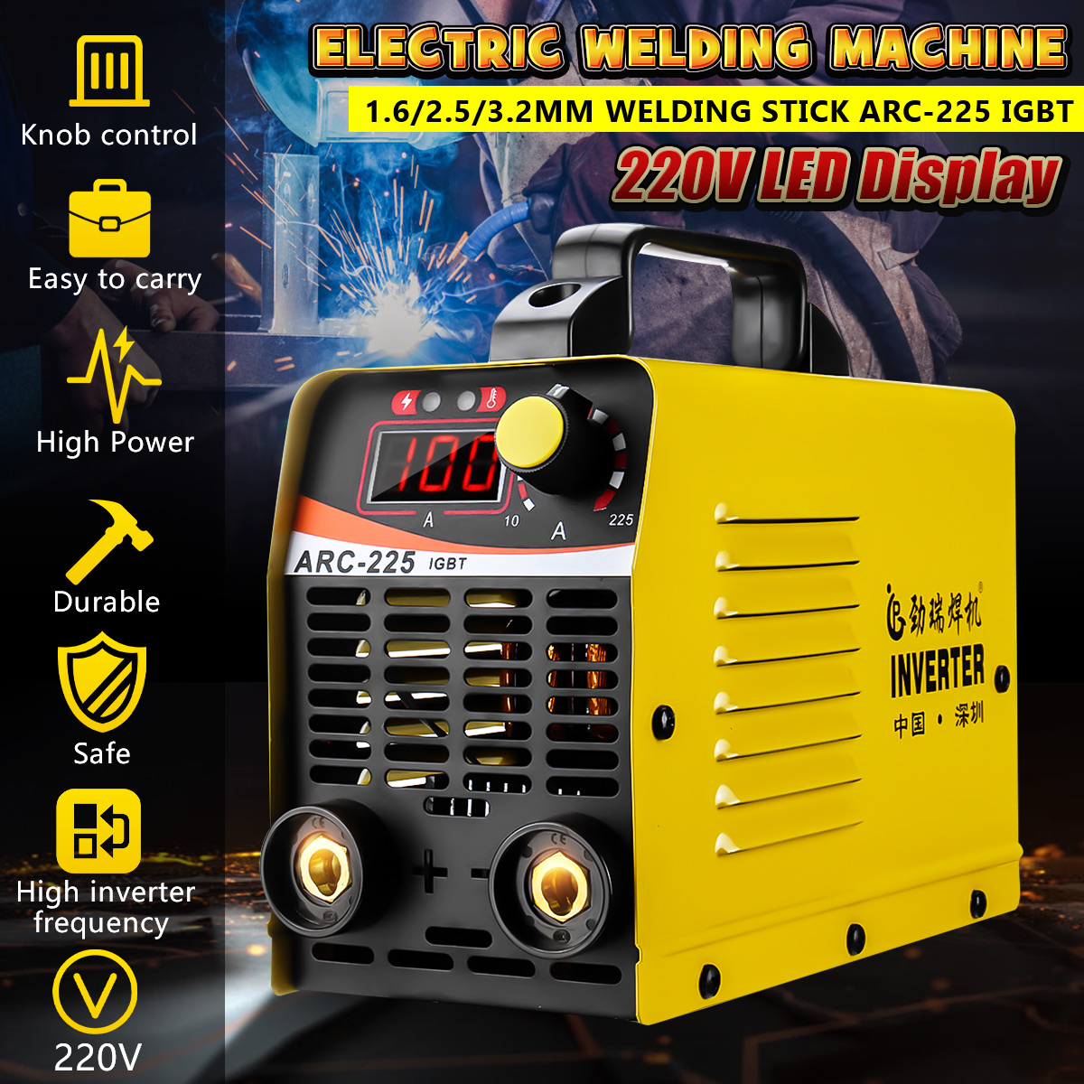 10-225A ARC-225 IGBT Copper Welding Machine MMA Portable Welding Inverter