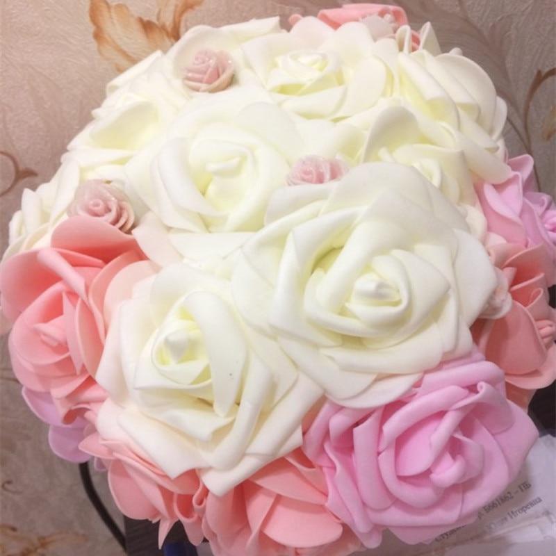 10 PCS 8 CENTÍMETROS PE Espuma Artificial Levantou-se Grande Buquê de Flores De Casamento Da Noiva Coroa De Flores Rosa Flores Falsas Decorações Home DIY decoração de mesa