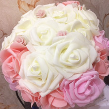 10PCS 8CM PE Foam Big Artificial Rose Flowers Wedding Bride Bouquet Wreath Fake DIY Home Flower Decorations