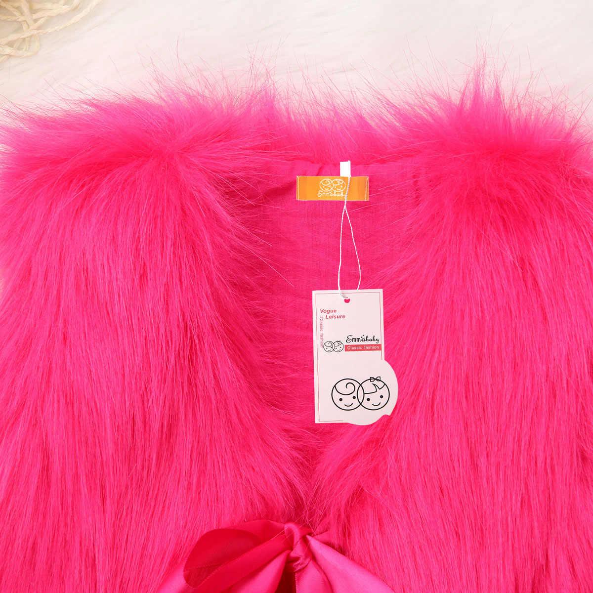 ABD Kış Çocuk Kız Taklit Kürk Yelek Bebek Yelek Kız Noel Ceket Dış Giyim Ceket