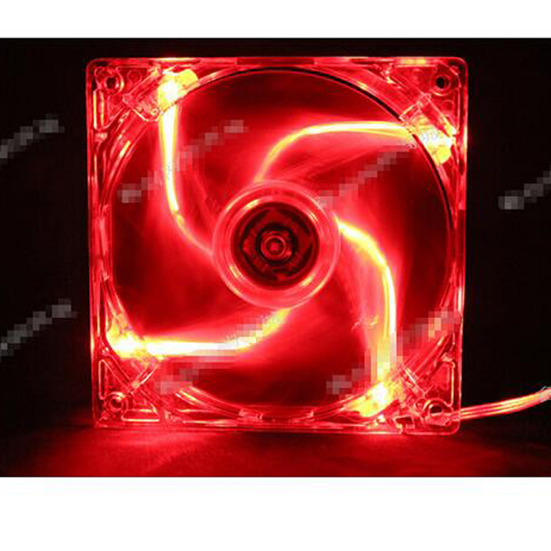 Transparent RED blue colorful led Color 12V 4Pin 140mm x 25mm Fan For PC Case System Cooling Fan image