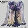 2015 fashion flowers Peacock beach scarf chiffon georgette silk scarf women's spring and autumn beach scarf