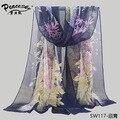 2015 flores de la manera Del Pavo Real playa bufanda bufanda de seda del georgette de la gasa de las mujeres de primavera y otoño bufanda de la playa