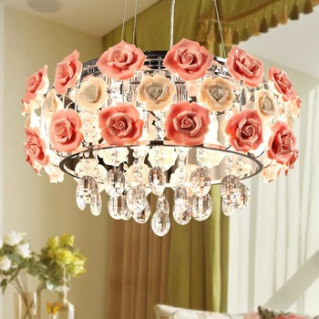Modern Led Crystal Chandelier Lighting Ceramics Rose Flower Style Chandeliers Ceiling For Living Room Bedroom With E14 Led Bulbs