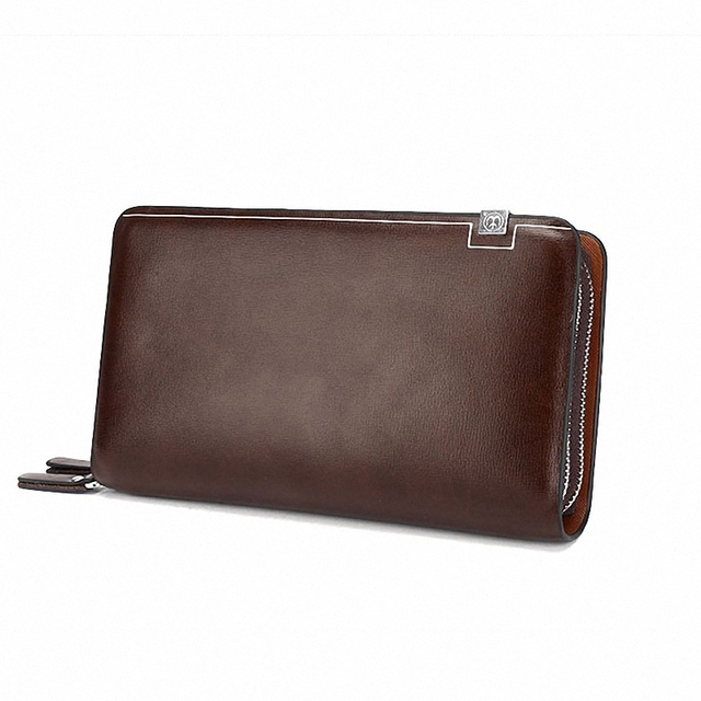 Business Men Double Zipper Leather Wallet