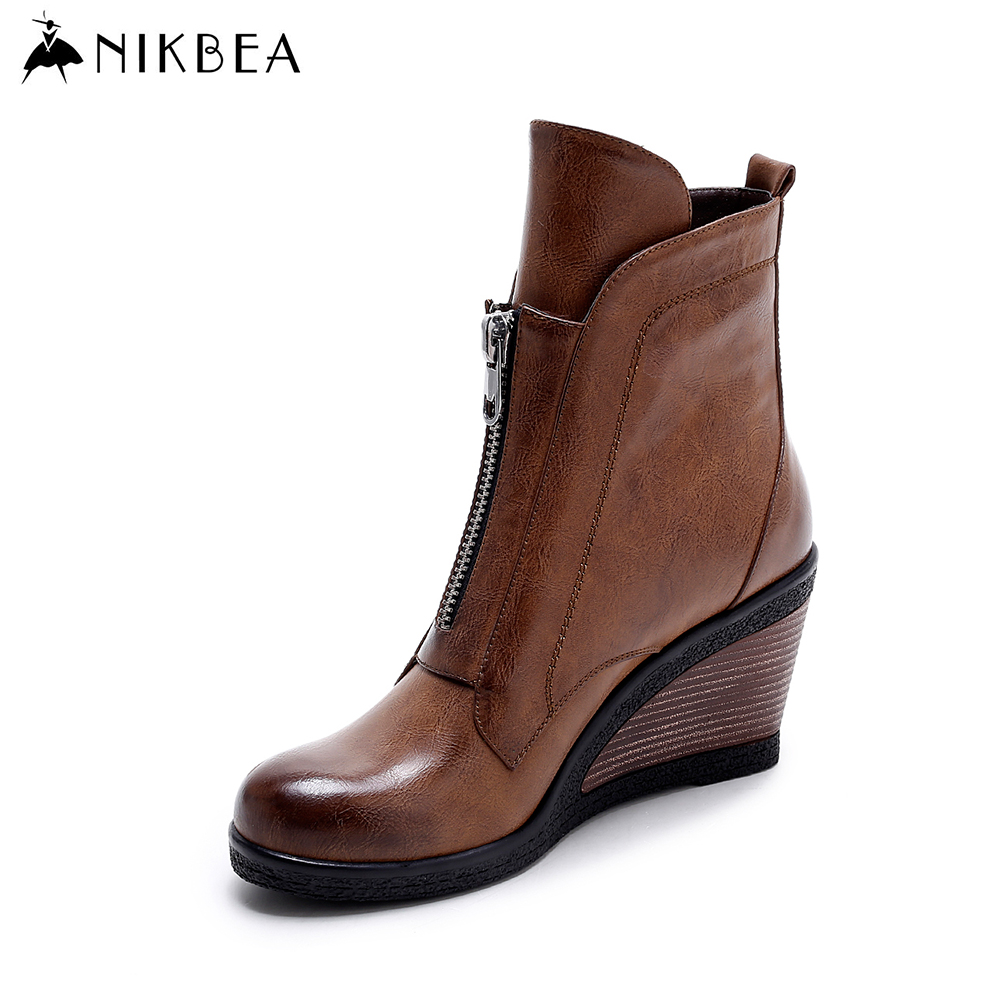 Nikbea Brown Wedges Ankle Boots Fashion Ladies Boots 2016 Brand Warm Women Winter Boots High Heels Women Handmade Bottine Femme warm brown