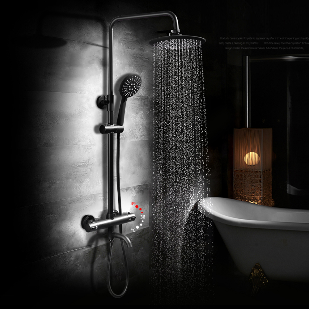 Dofaso water thermostat shower faucet with round head 8 inch antique ...