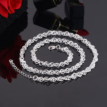 Fashion Silver Necklaces Chain Accessories Wholesale Box Link Chain Fits For DIY Necklaces For Women Men Handmade Jewelry(China)