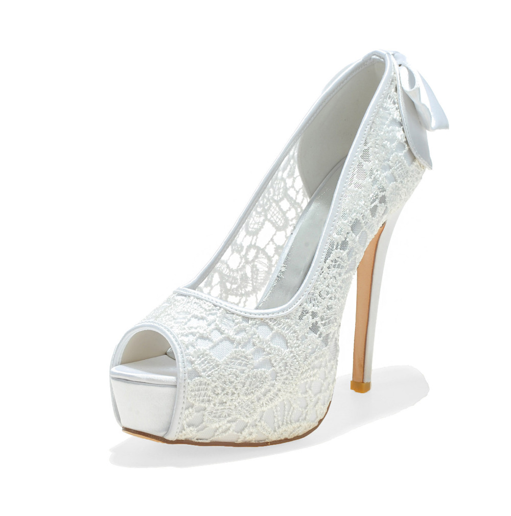 ФОТО Creativesugar pure white see through lace platform high heels open peep toe shoes bridal wedding party prom pumps bow on heel