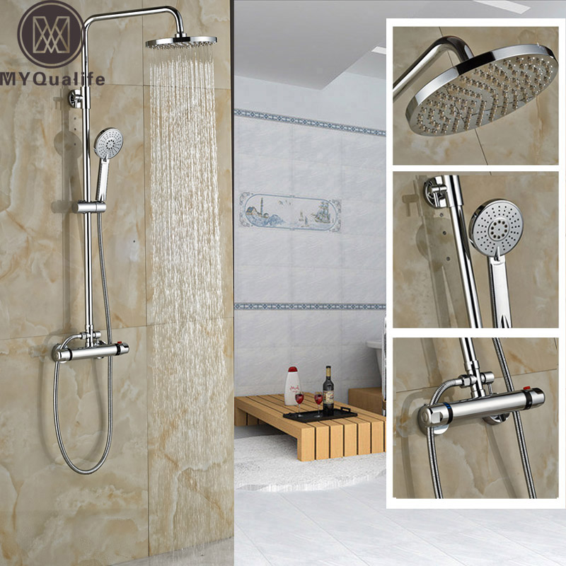 Polished Chrome Thermostatic Shower Mixer Set Wall Mount Dual Handle Constant Temperature Shower Faucet Set polished chrome wall mount temperature control shower faucet set brass thermostatic mixer valve with handshower