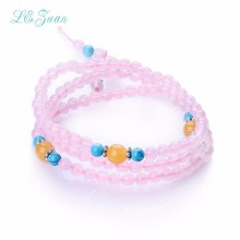 Pink Rose Quartz Women Bracelet Trendy Round 108 Natural Gemstones Three layer Long hand chain Fine Jewelry Party Gift