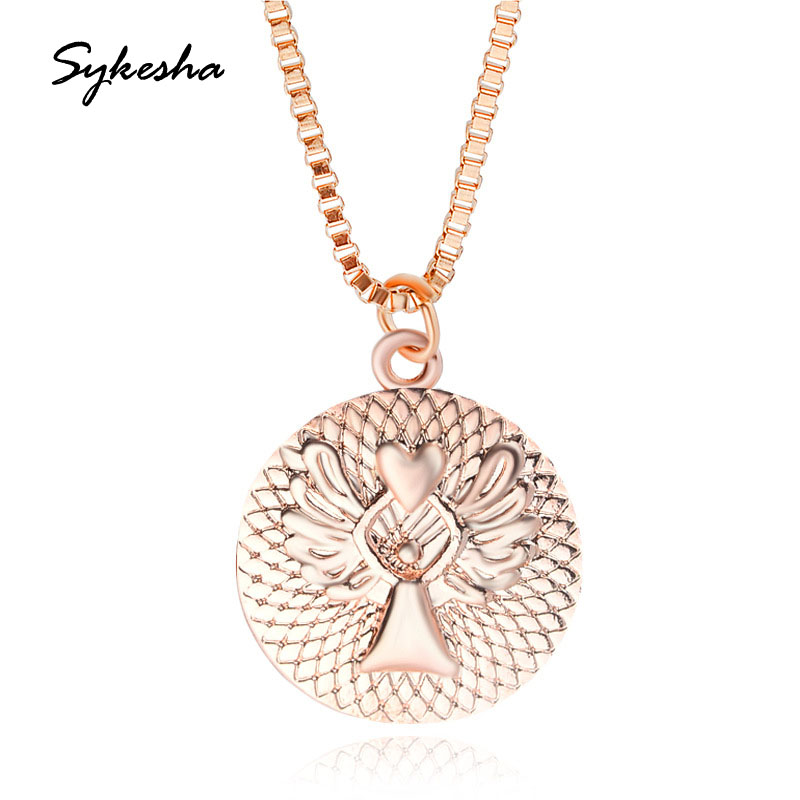 2018 Fashion New Round DISC Alloy Love Guardian Angel Engraved Necklace Girlfriends Birthday Gift Mothers Day Gift